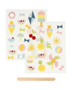 "Pegatinas ""Rub-on"", Verano, 12,2x15,3 cm, 1 paquete"