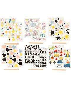 """Pegatinas """"Rub-on"""", 12,2x15,3 cm, 12 hoja/ 1 paquete"""