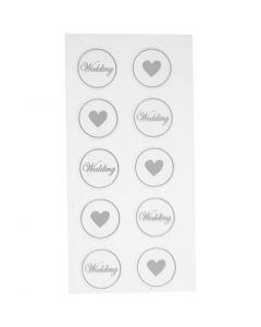 Pegatinas, Corazón - boda, dia: 25 mm, 7,8x15,5 cm, negro, 2 hojas stdas/ 1 paquete
