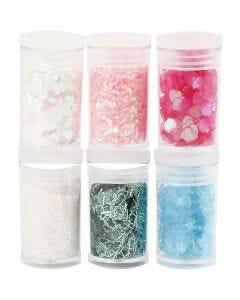 Purpurina y lentejuelas, colores pastel, 6x5 gr/ 1 paquete