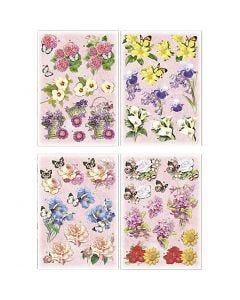 Motivos de decoupage 3D, Flores y mariposas, 21x30 cm, 4 hoja/ 1 paquete