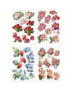 Motivos de decoupage 3D, flores , 21x30 cm, 4 hoja/ 1 paquete