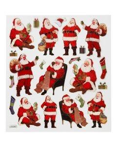 Pegatinas, Santa Claus clásico, 15x16,5 cm, 1 hoja