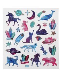 Pegatinas, animales de signos de estrella, 15x16,5 cm, 1 hoja