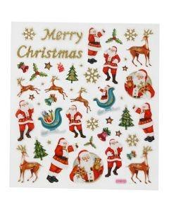 Pegatinas, Reno y Santa Claus, 15x16,5 cm, 1 hoja