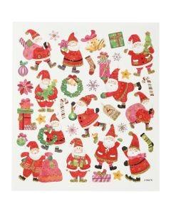 Pegatinas, Santa Claus feliz, 15x16,5 cm, 1 hoja