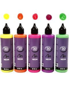 3D Liner - surtido, colores neón, 5x100 ml/ 1 paquete
