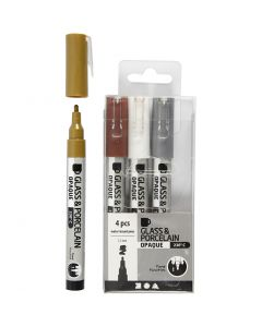 Rotulador porcelana y cristal, trazo ancho 1-2 mm, semi opaco, marrón, dorado, plata, blanco, 4 ud/ 1 paquete