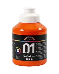 Pintura acrílica A-Color, glossy, naranja, 500 ml/ 1 botella