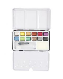 Pinturas acuarelables Art Aqua, medidas 10x15 mm, colores metálicos, 12 color/ 1 paquete