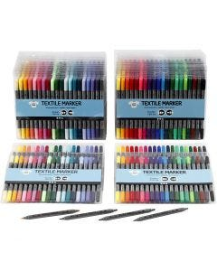 Rotuladores de tela, trazo ancho 2,3+3,6 mm, colores estándar, colores adicionales, 24x20 ud/ 1 paquete
