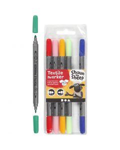 Rotuladores textiles, trazo ancho 2,3+3,6 , surtido de colores, 6 ud/ 1 paquete