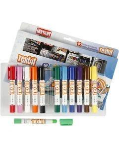 Pintura textil Playcolor, L. 14 cm, surtido de colores, 12 ud/ 1 paquete, 5 gr