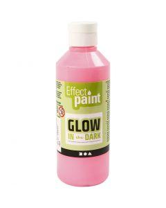 Pintura luminosa en la oscuridad, rojo claro fluorescente, 250 ml/ 1 botella
