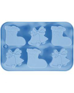 Molde de silicona, Calcetines y campanas de Navidad, medida agujero 60x75 mm, 12,5 ml, azul claro, 1 ud/ 1 paquete