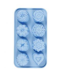 Molde de silicona, Pasteles pequeños, medida agujero 40x45 mm, 25 ml, azul claro, 1 ud