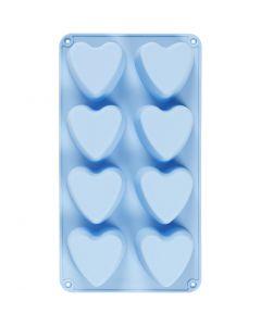 Molde de silicona, Corazones, A: 3,5 cm, L. 35 cm, A: 21 cm, medida agujero 70x60 mm, 100 ml, azul claro, 1 ud