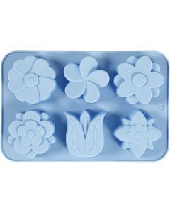 Molde de silicona, Flores, A: 2,6 cm, L. 30 cm, A: 21 cm, medida agujero 60x75 mm, 75 ml, azul claro, 1 ud