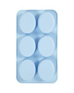 Molde de silicona, A: 2,5 cm, L. 28 cm, A: 16 cm, medida agujero 7,8 x 6,1 cm, 100 ml, azul claro, 1 ud