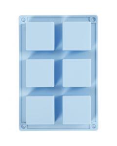 Molde de silicona, A: 2,5 cm, L. 21,5 cm, A: 14,5 cm, medida agujero 5 x 5  cm, 60 ml, azul claro, 1 ud