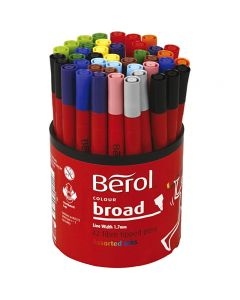 Berol Clolourbroad, dia: 10 mm, trazo ancho 1-1,7 mm, surtido de colores, 42 ud/ 1 bote
