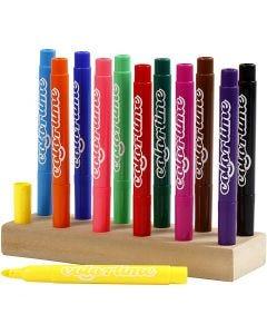 Colortime rotuladores, trazo ancho 5 mm, surtido de colores, 12 ud/ 1 paquete