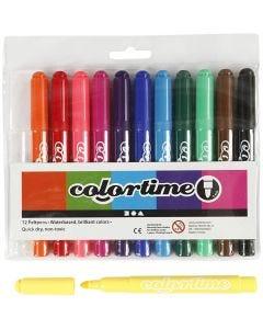 Colortime rotuladores, trazo ancho 5 mm, colores estándar, 12 ud/ 1 paquete