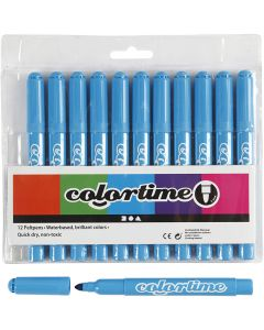 Colortime rotuladores, trazo ancho 5 mm, azul claro, 12 ud/ 1 paquete