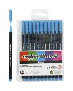 Colortime Fineliner , trazo ancho 0,6-0,7 mm, azul claro, 12 ud/ 1 paquete