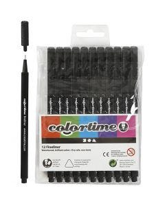 Colortime Fineliner , trazo ancho 0,6-0,7 mm, negro, 12 ud/ 1 paquete