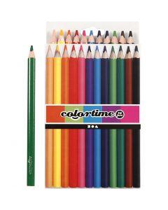 Lápices de colores Colortime, L. 17,45 cm, mina 5 mm, JUMBO, surtido de colores, 12 ud/ 1 paquete