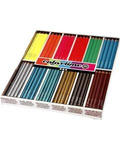 Lápices de colores Colortime, L. 17,45 cm, mina 4 mm, 144 ud/ 1 paquete