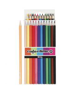 Lápices de colores Colortime, L. 17,45 cm, mina 3 mm, surtido de colores, 12 ud/ 1 paquete