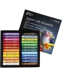 Pasteles al Óleo Gallery Premium, L. 7 cm, grosor 10 mm, surtido de colores, 24 ud/ 1 paquete