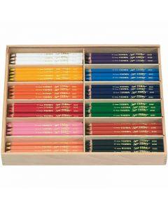 Super Ferby 1 lápices de colores, L. 18 cm, mina 3 mm, surtido de colores, 144 ud/ 1 paquete