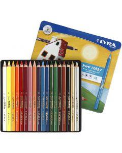 Super Ferby 1 lápices de colores, L. 18 cm, mina 3 mm, surtido de colores, 18 ud/ 1 paquete