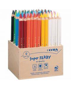 Super Ferby 1 lápices de colores, L. 18 cm, mina 3 mm, surtido de colores, 96 ud/ 1 paquete