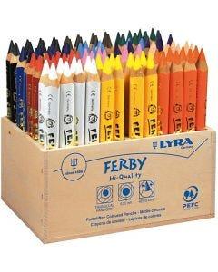 Lápices de colorear Super Ferby 1, L. 12 cm, mina 6.25 mm, surtido de colores, 96 ud/ 1 paquete