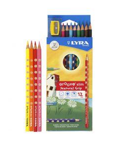 Lápices de colores con surco delgados, L. 18 cm, mina 3,3 mm, surtido de colores, 12 ud/ 1 paquete