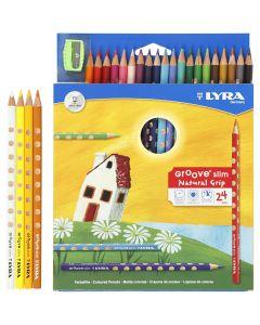 Lápices de colores con surco delgados, L. 18 cm, mina 3,3 mm, surtido de colores, 24 ud/ 1 paquete
