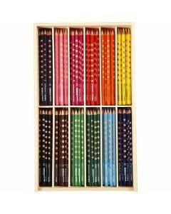 Lápices de colores con surco delgados, L. 18 cm, mina 3,3 mm, surtido de colores, 144 ud/ 1 paquete