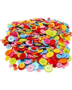 Surtido de botones, dia: 10+15+20+22 mm, 500 gr/ 1 paquete