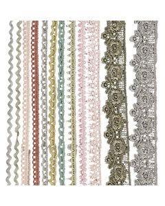 Puntillas, A: 10-25 mm, surtido de colores, 12x3 m/ 1 paquete