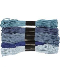 Hilo para bordar, grosor 1 mm, azul harmonía, 6 fajo/ 1 paquete