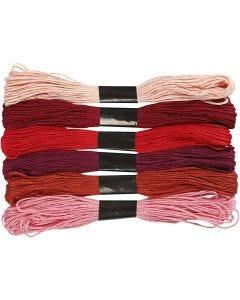 Hilo para bordar, grosor 1 mm, rojo harmonía, 6 fajo/ 1 paquete