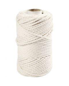 Cuerda de macramé, L. 55 m, dia: 4 mm, blanquecino, 330 gr/ 1 rollo