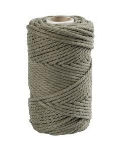 Cuerda de macramé, L. 55 m, dia: 4 mm, verde musgo, 330 gr/ 1 rollo