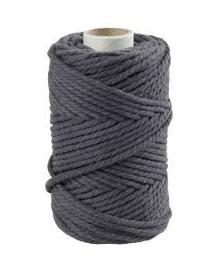 Cuerda de macramé, L. 55 m, dia: 4 mm, gris, 330 gr/ 1 rollo