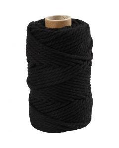 Cuerda de macramé, L. 55 m, dia: 4 mm, negro, 330 gr/ 1 rollo