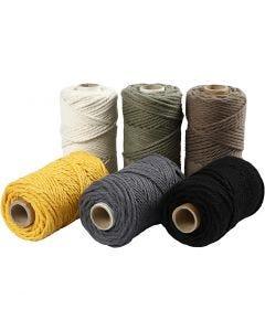 Cuerda de macramé, dia: 4 mm, surtido de colores, 6x330 gr/ 1 set